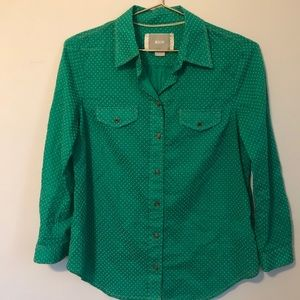 Anthro green dot button down w/ contrast stitching